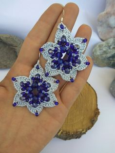 Flower Earrings, Crochet Earrings, Crystal Beads, Crystals, Blue Flowers, Bridesmaid Gifts, Teacher Gifts, Mother Day Gifts, Anniversary Gifts