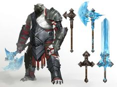 Guild Wars 2. Kodan Swords & Axes. They are designed around the theme of cold environments.