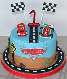 Car Themed First Birthday Cake Image Inspiration of Cake and