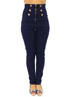Sidecca Women's Retro Rockabilly 6-Button High Waist Smock Pant-Navy-Small Sidecca http://www.amazon.com/dp/B00SI2H73A/ref=cm_sw_r_pi_dp_z.e.ub0KT3GMZ
