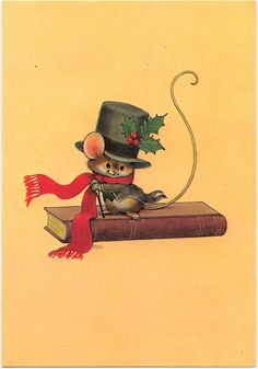 Christmas mouse (dapper, scarf, top hat, holly and berries, mice, book, cane, long tail)
