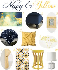 Navy and Yellow Bedroom Decor - love this color combination too!