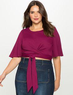 Flutter Sleeve Tie Hem Top | Women's Plus Size Tops | ELOQUII