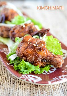 Crispy Korean Fried Chicken wings glazed with sweet spicy garlic soy sauce. Gluten free corn starch coating and double frying makes an extra crispy chicken.