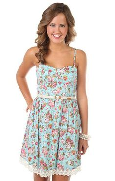 floral printed corset style belted casual dress - debshops.com - My Easter dress this year! So pretty
