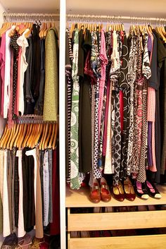 closet organization - top and bottom rods for shorter items = huge space saver.  again ikea pax system.