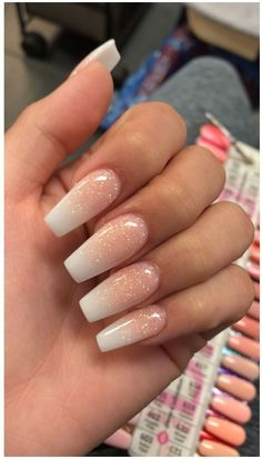 French Fade With Nude And White Ombre Acrylic Nails Coffin Nails - Cute acrylic nails - Aycrlic Nails, Manicures, Best Acrylic Nails, French Tip Acrylic Nails, Simple Acrylic Nails, Acrylic Nail Art, Acrylic White Tips, French Acrylics, Natural Acrylic Nails