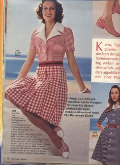 1972 Red and White Check Dress