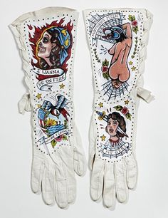 Ballad of the Tattooed Lady paintings on vintage leather gloves by Chicago artist Ellen Greene
