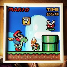 Framed Super Mario scene hama beads by irishandhungover