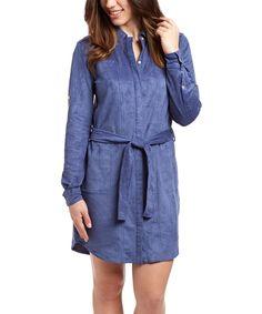 China Blue Ultrasuede Shirt Dress
