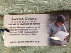 Your purchase of Sacred Threads Clothing helps fund the Sacred Deeds foundation.