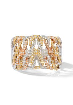 Effy Trio 14K Tri Color Gold Diamond Ring, 0.62 TCW
