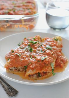 Chicken, Spinach and Mushroom Manicotti