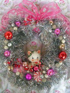 Happy Holiday SALEVintage Kitty Xmas Wreath soo by KittyKatDance, $65.00