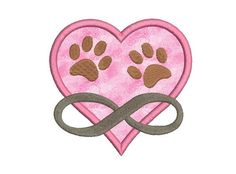 Dog embroidery design - Dog applique - Heart applique design paw infinti fill stitch embroidery - Heart applique - INSTANT DOWNLOAD - 4 SIZE by MyMemoryDesign on Etsy