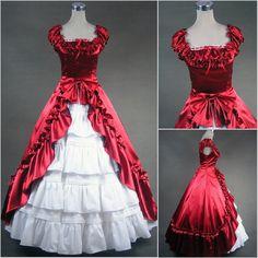 Custom Victorian Corset Dress Gothic/Civil War Ball Gown Lolita Medieval Royal Velvet Vintage RED Costume