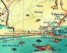 NAVARRE map beach decor 1960s Ft Walton Beach by VintageBeachMaps