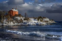 Marquette, MI lighthouse in winter Michigan Tourism, Michigan Travel, State Of Michigan, Lake Michigan, Best Vacations, Vacation Destinations, Marquette Michigan, Lighthouse Photos, Lake Superior