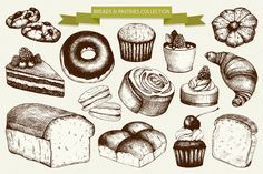Ink hand drawn breads and pastries by ievgeniia on Creative Market