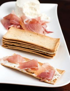 Appetizer idea: pair Salem Baking Company's Rosemary Olive Oil Flatbreads with Garlic Herb Cheese Spread and Prosciutto. Find them at http://www.salembaking.com/product-detail/rosemary-olive-oil-flatbread.
