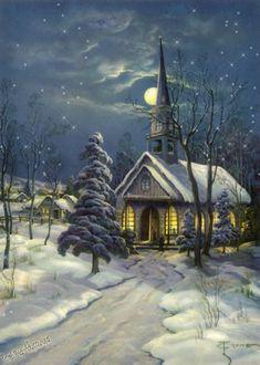 Костел, ночь, луна - анимационные картинки и gif открытки