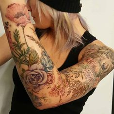 Wolf and floral sleeve by Amber ( done at Chronic Ink Tattoo - Toronto, Canada Pretty Tattoos, Cute Tattoos, Beautiful Tattoos, Flower Tattoos, Body Art Tattoos, Arm Sleeve Tattoos For Women, Colorful Sleeve Tattoos, Nature Tattoo Sleeve Women, Floral Sleeve Tattoos