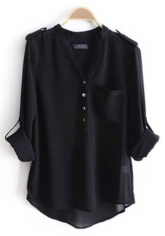 Black Epaulet Buttons V-neck Pockets Chiffon Blouse