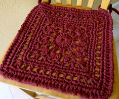 """Da's Crochet Connection: Chair Rug/Chair Pad Pattern. In a Super Chunky yarn with a 10mm hook measures 15"""" square."""