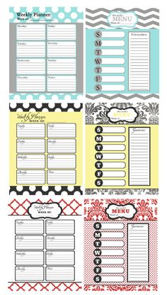 Calendars and Menu planners
