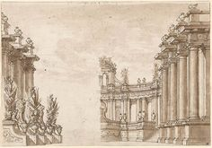 Giuseppe Valeriani | Design for a Classical Façade with Lions, Trophies, and Nude Captives at Left | Drawings Online | The Morgan Library & Museum
