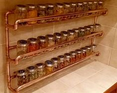 Copper pipe spice rack - wall mounted - with jars - custom dimensions + custom price, please enquire