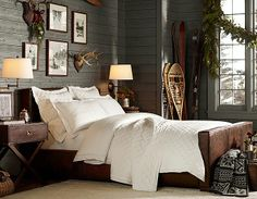 Pottery barn..love the wood walls, pnw accents and side table