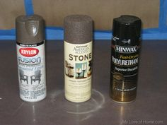 If you have awful countertops, but can't spend tons of $ here is a tutorial on how one woman did it with these 3 cans.