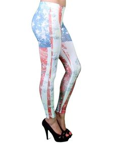 Sexy Distressed USA AMERICAN FLAG Stars Pride Pants Leggings 0/S fits xs-l New #OTHER