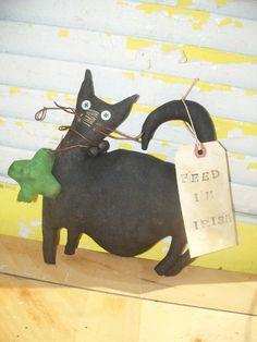 Primitive Feed ME Irish Cat by Rabbithollowprims on Etsy