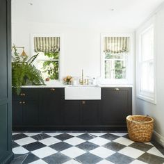 Habitually Chic®  » The Ultimate Quarantine Kitchen Black Kitchen Cabinets, Black Kitchens, Checkerboard Floor, Integrated Dishwasher, Interiors Magazine, Shaker Style, Wooden Flooring, Victorian Homes, Victorian Farmhouse