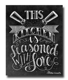 Kitchen Decor, Kitchen Art, Kitchen Sign, Kitchen Print, Chalk Art, Kitchen Chalkboard Sign, Kitchen, Chalkboard Art, Seasoned With Love by TheWhiteLime on Etsy