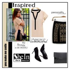 """Beige"" by nadatrixi ❤ liked on Polyvore featuring Black Rivet, Sheinside, beige, polyvoreeditorial and shein"