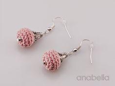 Tiny crochet earrings in pink by Anabelia