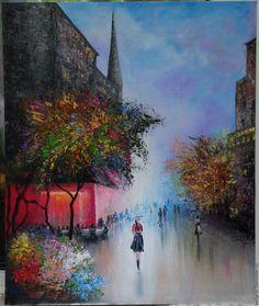 Купить Осенняя улица - комбинированный, осенняя улица, осень, городской пейзаж, картина в подарок, картина