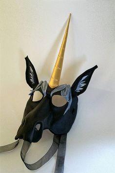 Full-Face Unicorn Mask Horse Mask Fantasy Creature Leather Mask Black or White Unicorn Mask