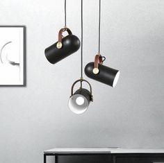 Black Spotlight Leather Strap Pendant Light #60W #black #ceiling-light