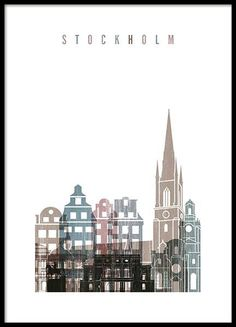 Stockholm Skyline Poster in the group Posters & Prints at Desenio AB Empire State Building, Gold Poster, Tokyo Skyline, Buy Posters Online, Prints Online, Groups Poster, City Map Poster, Retro Poster, Silhouette