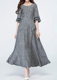 Pocket Round Neck High Waist Grey Maxi Dress on sale only US$33.95 now, buy cheap Pocket Round Neck High Waist Grey Maxi Dress at liligal.com