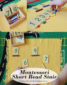 Introducing Montessori Short Bead Stairgor learning about early number identification and simple addition.