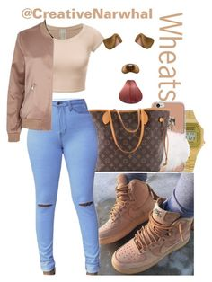 """""""Wheats"""" by creativenarwhal ❤ liked on Polyvore featuring Nike air force, Casio, Louis Vuitton and River Island"""