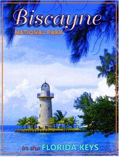 Biscayne National Park Florida Keys United States Travel Advertisement Poster American National Parks, National Parks Usa, Florida Sunshine, Sunshine State, Biscayne National Park, Vintage Travel Posters, Poster Vintage, Mangrove Forest, Tourism Poster