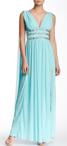 Double V Jewel Embellished Waist Gown