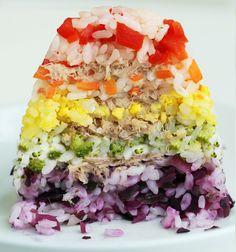 Savory Rainbow Cake with Sushi Rice - Eugenie Kitchen